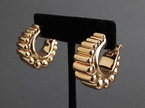 Milor Italian 14K Yellow Gold Puff Hoop Earrings