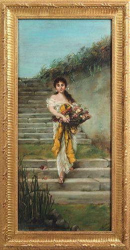 Signed Girl w Flower Basket, Oil on Metal