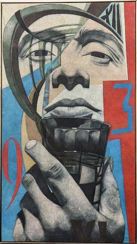 Mendij Signed Large Portrait Oil on Canvas