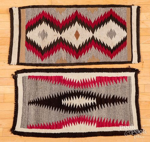 """Two Navajo Indian rugs, 41"""" x 18"""" and 38"""" x 20""""."""