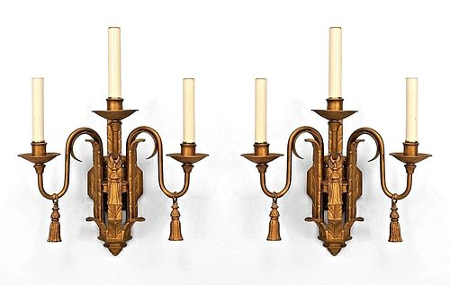 14 English Georgian Style Gold Iron Wall Sconces (Priced Each)