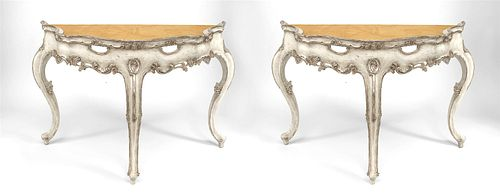 Pair of Italian Rococo Silver Gilt Marble Top Console Table