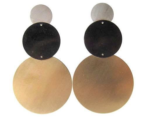 Heidi Abrahamson Sterling Silver Geometric Post Modernist Memphis Style Brass Earrings