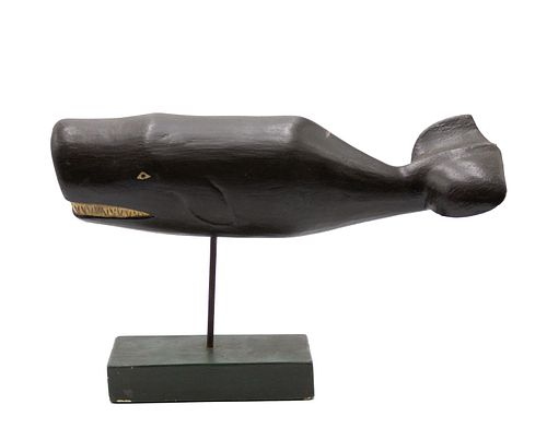 Carved Wooden Sperm Whale Sculpture