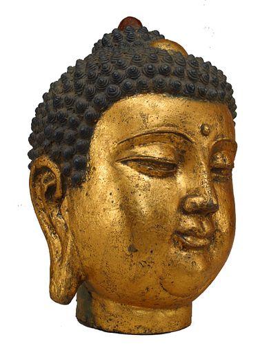 Chinese Iron and Gilt Buddha Bust