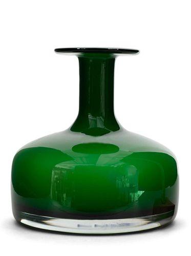 Danish Mid-Century Holmegaard Green and White Bud Vase