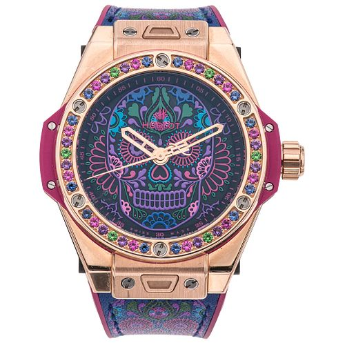 HUBLOT BIG BANG ONE CLICK CALAVERA CATRINA SPECIAL EDITION 03/50 WITH SEMIPRECIOUS GEMS. 18K PINK GOLD, TITANIUM AND STEEL. REF. 465.OX.1190.VR.1299.M