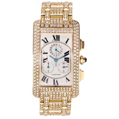 CARTIER TANK AMERICAINE WITH DIAMONDS. 18K YELLOW GOLD. REF. 1730