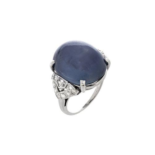 Art Deco Sapphire, Diamond and Platinum Ring