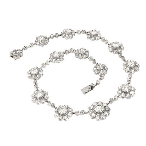 Antique Diamond and Platinum Necklace