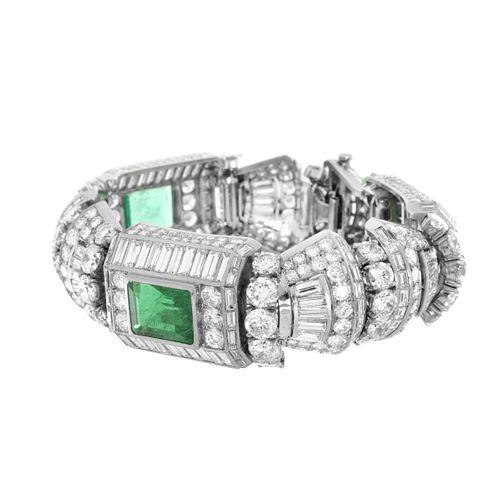 Important Diamond, Emerald and Platinum Bracelet