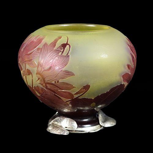 Fabergé Silver-Mounted Emile Gallé Vase
