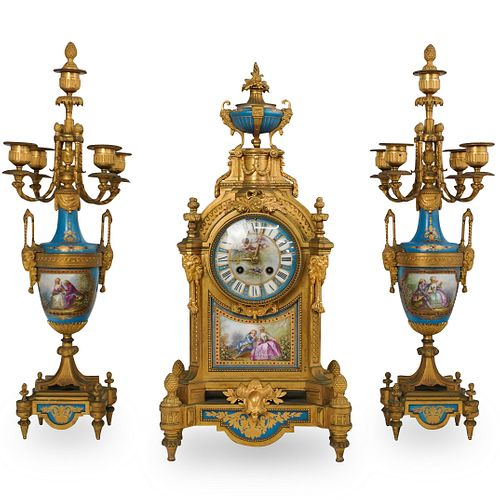 (3 Pc) 19th Cent. French Gilt Clock Garniture Set