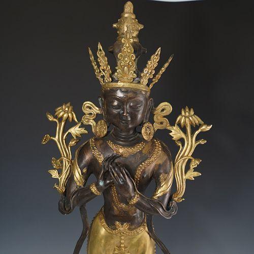 Thibetan Bronze Standing Buddha Statue