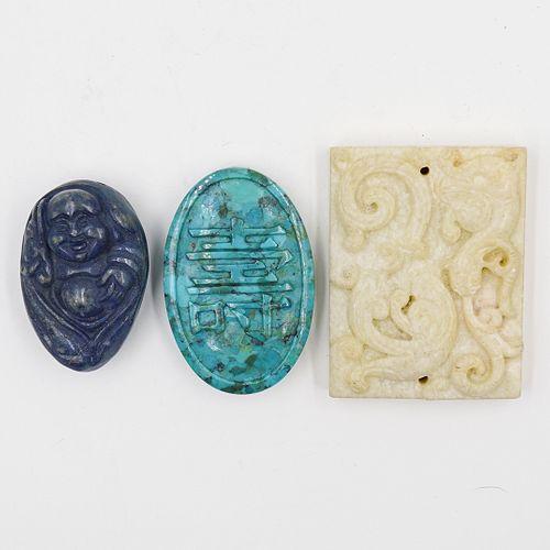 (3 Pc) Chinese Semi Precious Stone Beads