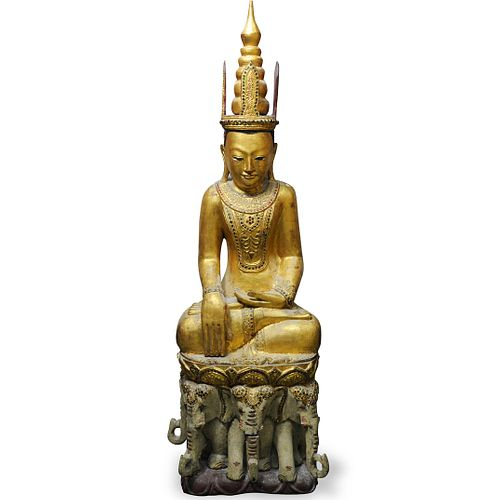 Burmese Carved Wood Jambupati Buddha