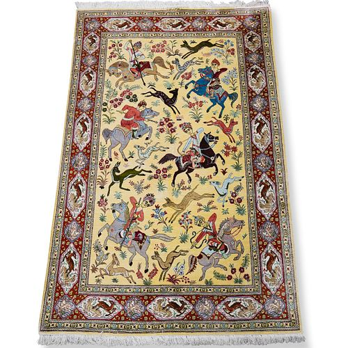 Persian Silk Qum Hunting Rug
