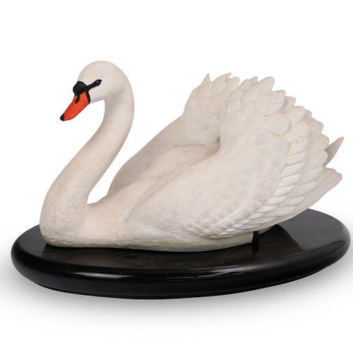 Franklin Mint Bisque Porcelain Swan Statue