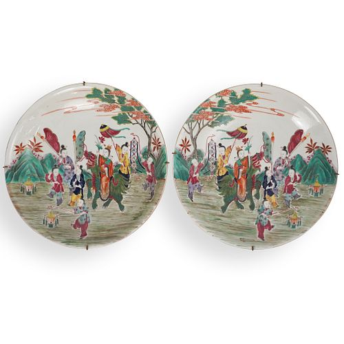 Pair Chinese Famille Rose Charger