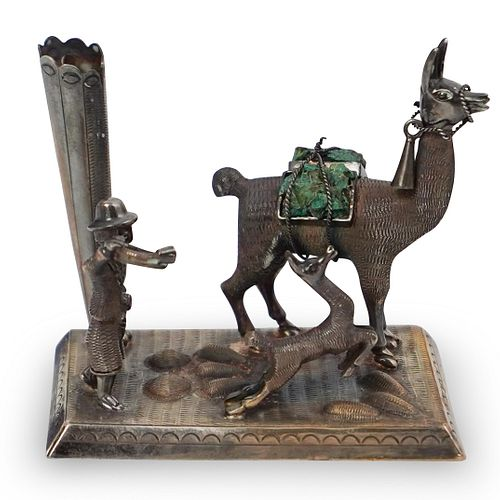 Sterling and Malachite Llama Figurine