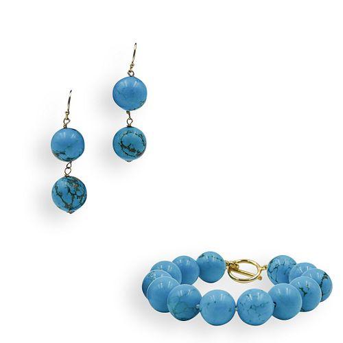 (3 Pc) Turquoise Beaded Jewlery Set