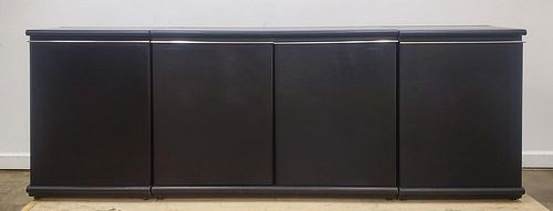 PACE COLLECTION MODERN BLACK LEATHER CREDENZA