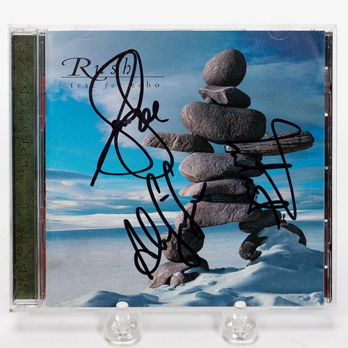 """RUSH, """"TEST FOR ECHO"""" AUTOGRAPHED COMPACT DISC"""