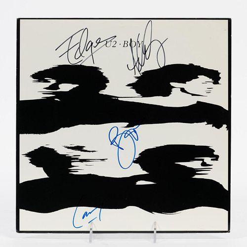 "U2, FULL BAND AUTOGRAPHED ""BOY"" ROCK ALBUM"