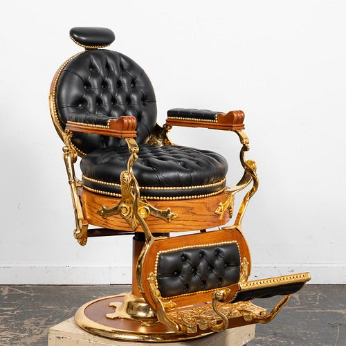 KOKEN DOUBLE ROUND LEATHER BARBER'S CHAIR