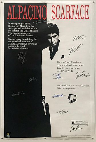 """CAST SIGNED """"SCARFACE"""" MOVIE POSTER, AL PACINO"""