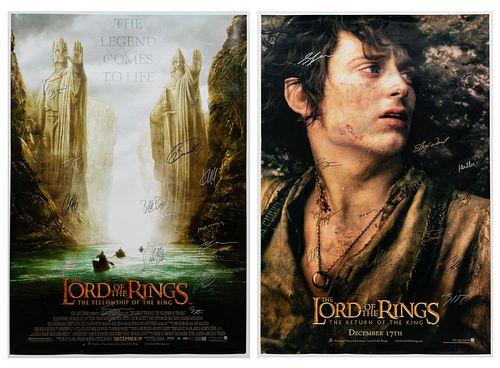TWO, CAST SIGNED LORD OF THE RING MOVIE POSTERS