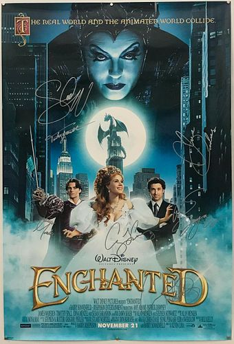 """CAST SIGNED """"ENCHANTED"""" MOVIE POSTER, DEMPSEY"""