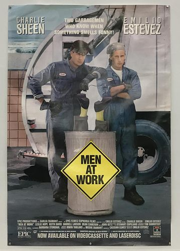 "CHARLIE SHEEN SIGNED ""MEN AT WORK"" MOVIE POSTER"