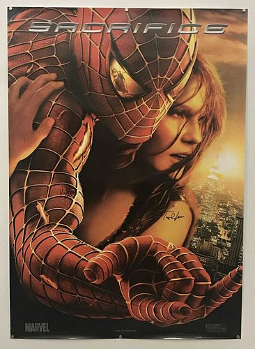 """CAST SIGNED, """"SPIDER-MAN 2"""" MOVIE POSTER, MAGUIRE"""