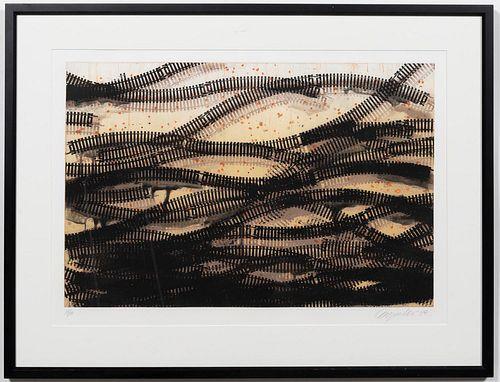 "DEBORAH OROPALLO, ""RAILING"" ETCHING, 1998"