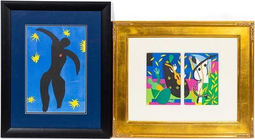 """TWO MATISSE """"CUT OUT"""" LITHOGRAPH FRAMED PRINTS"""