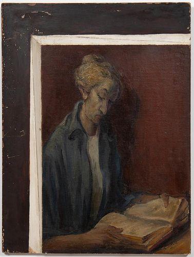 "ARNOLD HAUFFMAN, ""PORTRAIT OF A LADY"" OIL - 1946"