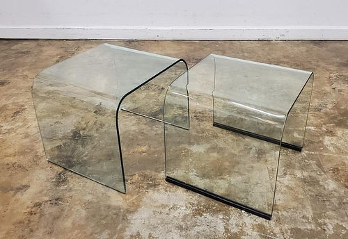SET OF TWO PACE COLLECTION GLASS NESTING TABLES