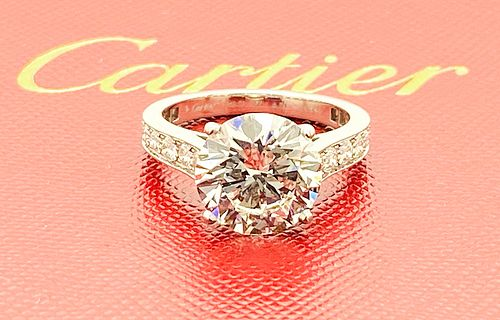 CARTIER 950  4.01ct CENTER DIAMOND ENGAGEMENT RING GIA