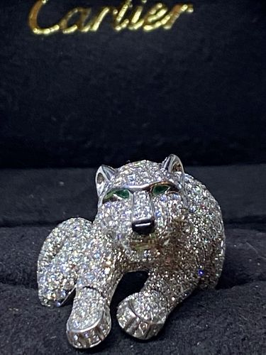 Cartier Panther Diamond Emerald Rotation Head Ring