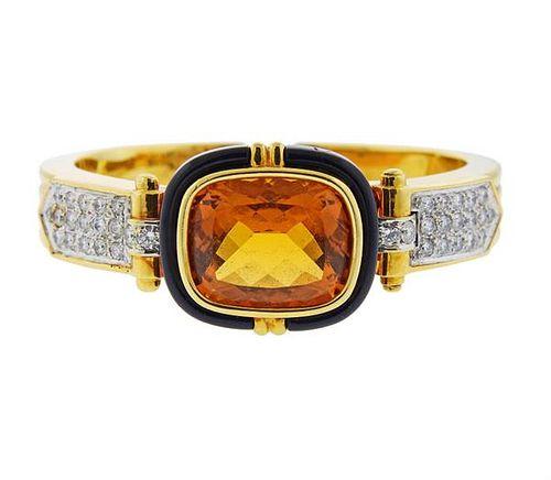 18K Gold Diamond Citrine Onyx Cuff Bracelet