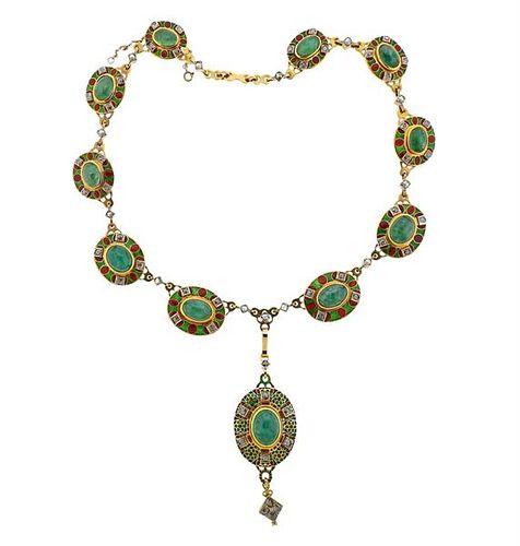 18k Gold Diamond Emerald Enamel Necklace