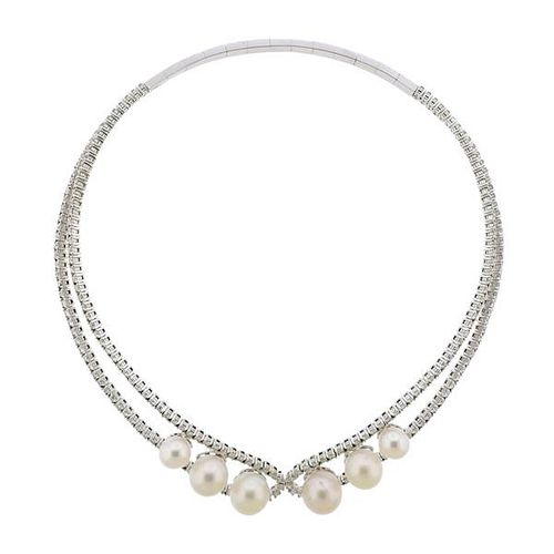 11.22ctw Diamond 18k Gold South Sea Pearl Necklace