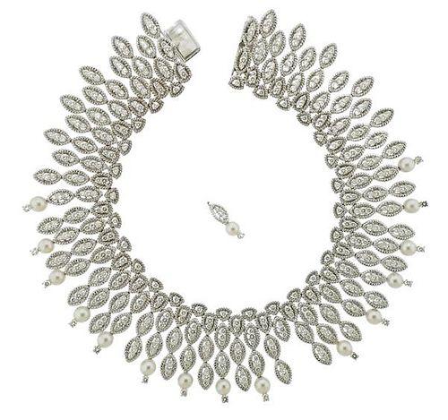 Hammerman 18k Gold 22 Carats Diamond Pearl Necklace