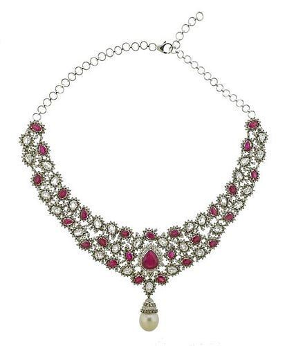 20.00ctw Diamond 18k Gold South Sea Pearl Ruby Necklace