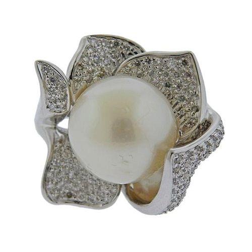 18k Gold Diamond South Sea Pearl Flower Ring