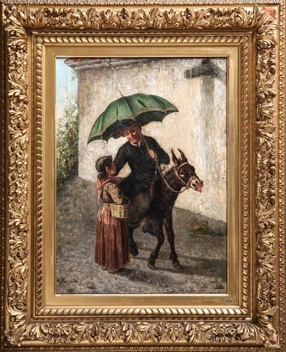 "Gaetano Mormile ""Man Riding Donkey"" Oil on Canvas"