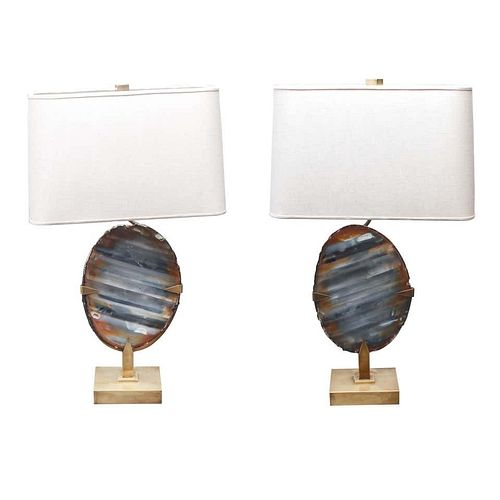 Willy Daro Agate Geode Brass Table Lamp, Pair