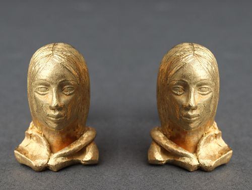 """LeBeau """"Eros"""" 18K Yellow Gold Lady Bust Cufflinks"""