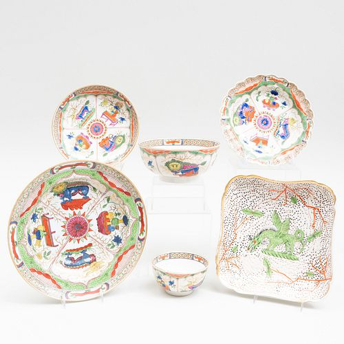 Group of Worcester 'Dragon in Compartments' and a Chinese Export Soup Plate